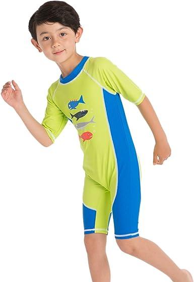 WonderBabe Girls UV Protection Swimsuit Short Sleeve Swimwear Beach Rash Guard Swimming Costume Sun Protection Bathing Suit
