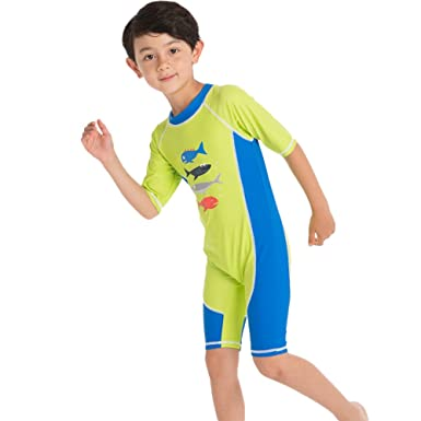 4c9ab1f87d330 OBEEII Boys Swimming Costume Short Sleeve Summer UV Sunsafe Swimsuit Cartoon  Print One Piece Zipper Closure