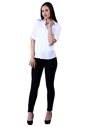 cabc7799bb19 NumBrave White Solid Rayon Formal Shirt For Women  Amazon.in ...