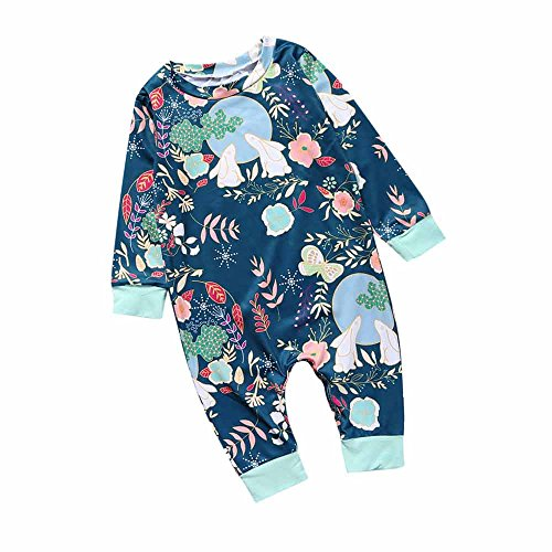Summer Fall Baby Girl Boy Moon Rabbit Butterfly Flower Jumpsuit Romper (Rabbit Moon Baby Girl)