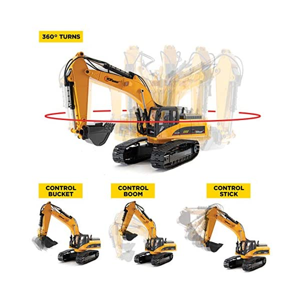 Top Race 15 Channel Full Functional Remote Control Excavator Construction Tractor Excavator Toy with 2.4Ghz Transmitter and Metal Shovel TR 211