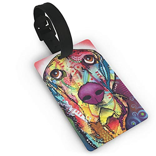 Colourful Basset Hound Luggage Tag Travel Bag Labels Suitcase Bag ID Tag (Hound Luggage Tag Basset)