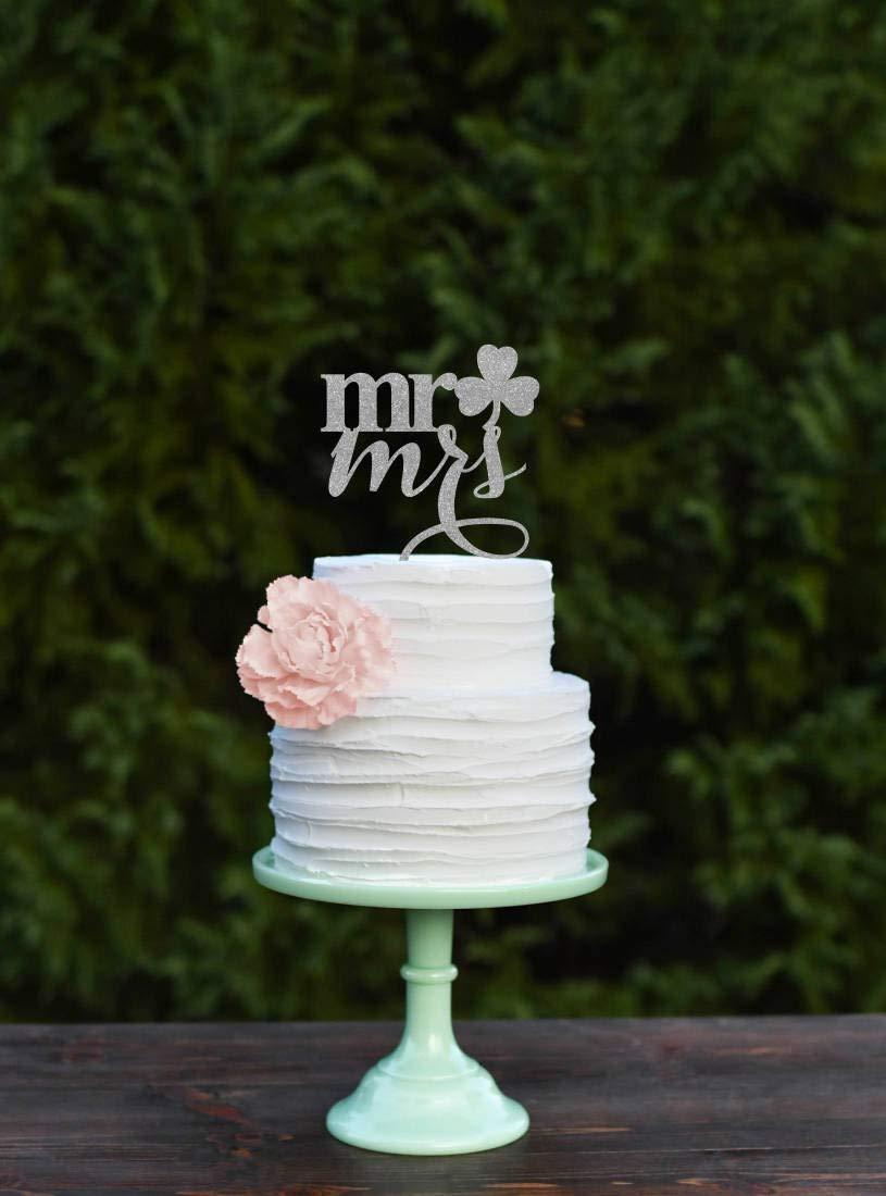 Wedding Cake Topper Shamrock Cake Topper Mr and Mrs Wedding Cake Topper St Patricks Day Cake Topper Irish Wedding Cake Topper Clover