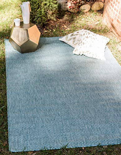 Unique Loom Outdoor Solid Collection Casual Transitional Indoor and Outdoor Flatweave Aquamarine Area Rug 4 0 x 6 0