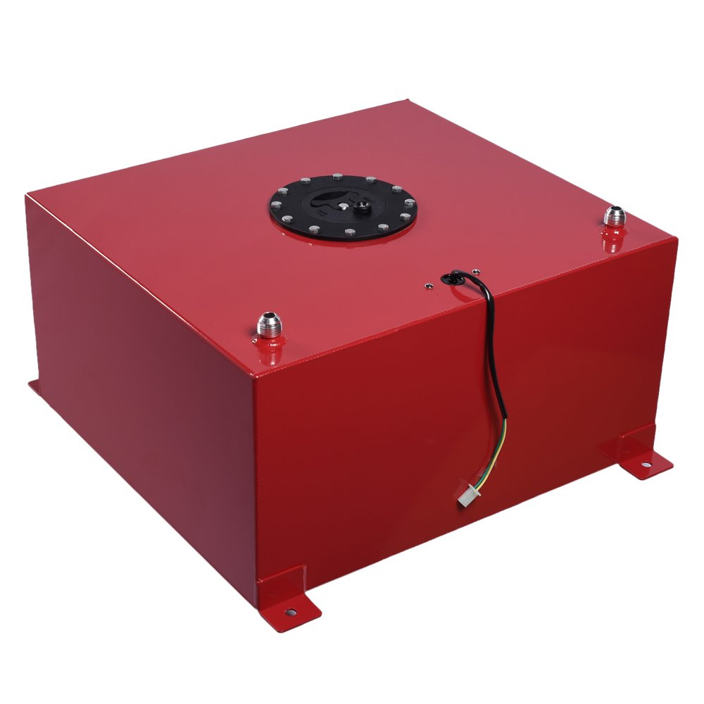 SUNROAD 15-Gallon Fuel Cell Gas Tank Aluminum Polished Racing Street Drift Strip Fuel Cell Tank with Level Sender Red