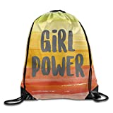 Girl Power Sackpack,Team Training Gymsack Drawstring Backpack Sack Bag For Girls Soft Polyester Gym