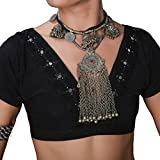 UPRIVER GALLERY Belly Dance Choli Crop Top V-neck Halter Bra with Embroidery Neckline Tribal Sleeve Wrap Top Black L