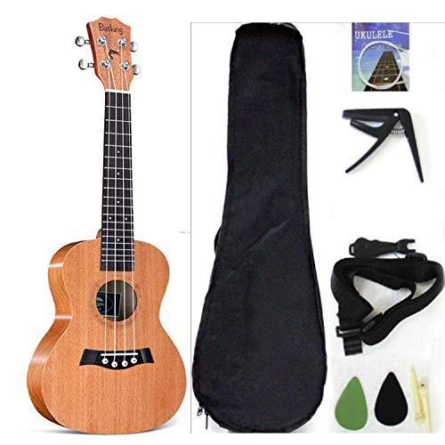 musoo Concert Ukulele Solid Top Mahogany 23 Inch with Ukulele Accessories, Gig Bag, Strap, Nylon String, Guitar Trigger Capo, Picks