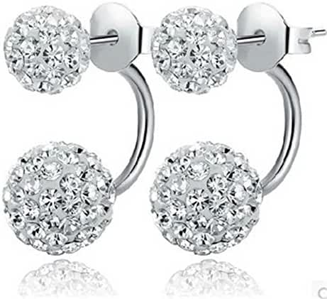 CHOP MALL® Women's Cute 925 Sliver Rhinestones Balls Christmas Earrings + Free Wristband Accessory and Ring