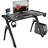 "Bossin Gaming Desk Y-Shaped 47"" PC Game Table Office Workstation Home Computer Desk with RGB LED Lights/USB Gaming Handle Rack/Cup Holder/Headphone Holder for Gamer"