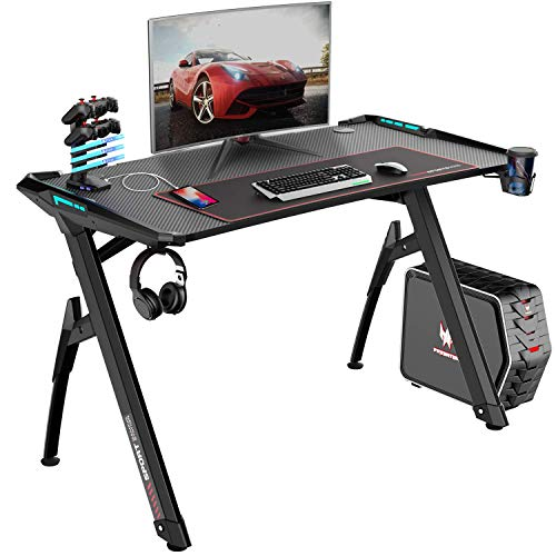 "Bossin Gaming Desk Y-Shaped 47"" PC Game Table Office Workstation Home Computer Desk with RGB LED Lights/USB Gaming Handle Rack/Cup Holder/Headphone Holder for Gamer (Black-1)"