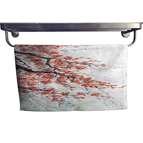 warmfamily Dry Fast Towel Watercolor Painting Branches of Blossoms Cherry Towel W 8