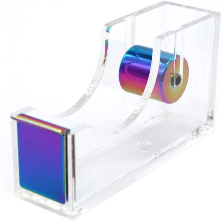 "Rainbow Adhesive Tape Dispenser Clear Acrylic Body Desktop Tape Holder 1"" Colorful Metal Core for Your Desk and Office Supplies"