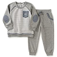 Calvin Klein Baby Pullover with Pockets Pants Set, Gray, 6/9 Months