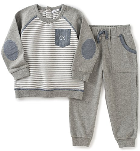 Calvin Klein Baby Pullover with Pockets Pants Set, Gray, 3/6 Months