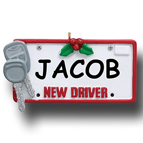 Personalized Driver Car License Plate with Keys Christmas Ornament with Name - Girl Personalized Hand Painted Plate