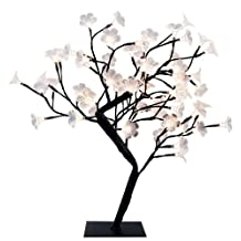 Simple Designs NL2008-BLK LED Lighted Decorative Cherry Tree, Large, Black