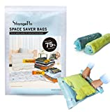 15-Pack Travel Luggage Space Saver Bags for Packing & Compressing Clothes, Hand Roll Only - No Pump Needed