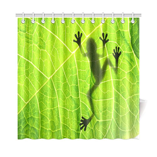 - InterestPrint Funny Frog Decor Shower Curtain, Tropical Rainforest Vibrant Little Tree Frog Silhouette Shadow on The Leave Bathroom Set with Hooks, 72 X 72 Inches, Green Black