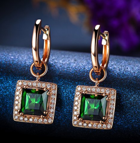 Gowe 2.0 CT véritable Tourmaline verte Pure Or rose 18 K Boucles d'oreilles avec diamants 0.12 CT 100% naturel