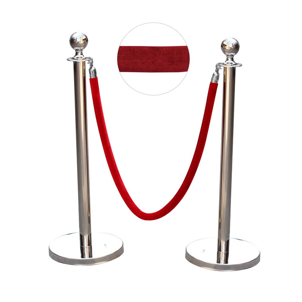 AllRight Queue Rope Barrier Set Polished Stainless Steel Queue Rope Posts 1.5m Velvet Red(2 Posts + 1 Rope) OEM