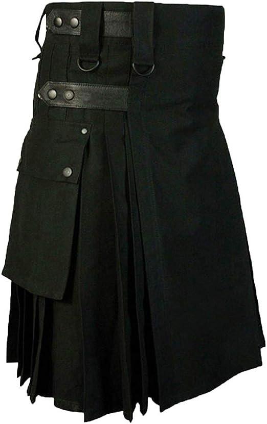 Junjie - Kilt escocés gótico a la Moda Kendo Pocket Hombres Falda ...