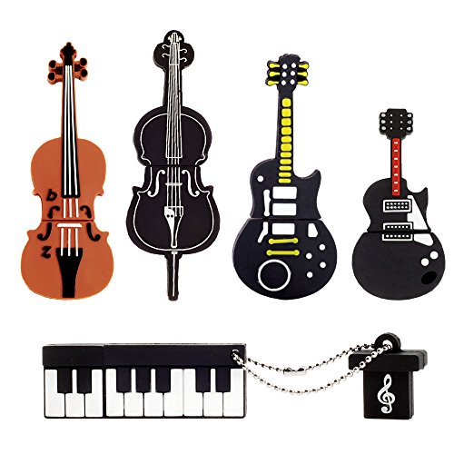LEIZHAN 5x8GB USB Flash Drive Musical instruments USB 2.0 Memory Stick Pendrive(Yellow Guitar,Red Guitar,Cello,Violin,Piano ) …