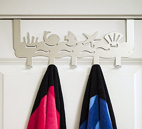 Ocean - Over the Door Organizer with 5 Hooks | Decorative Over the Door Towel Hooks For Bedroom, Kids Room, Bathroom | Coats, Clothes, Towels, Robes | By Comfify (Mirror Finish)