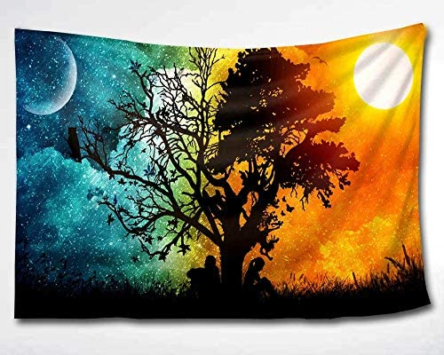 HMWR Magical Love Tree of Life Tapestry Wall Hanging Psychedelic Forest in Star Moon Night and Sun Day Art Tapestries Throw Cottage Dorm Bedroom Art Home Decor 60×40 Inch