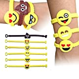 Emoji Rubber Wristband, SYZ Novelty Toy Smile Emoticon Slap Bracelets Face Emotion Silicone Wristband Party Favors for Children in Any Summer Time Backyard (12 PACK)