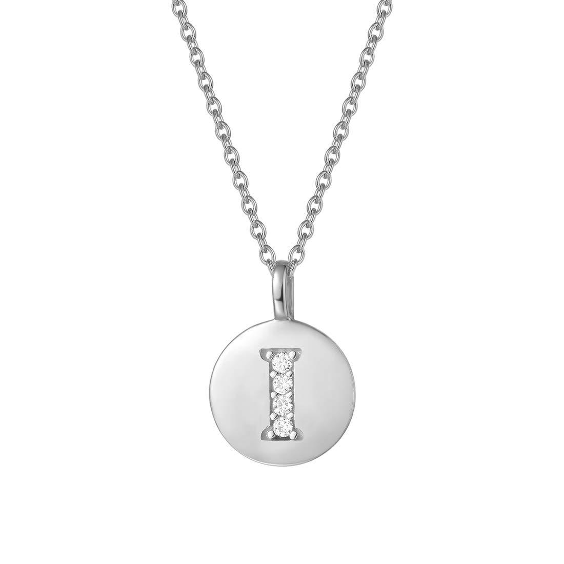 Agvana Sterling Silver Initial Pendant Necklace Round Disc CZ Initial White Gold Plated Dainty Letter Necklace Gifts for Women 16+2 Extender Chain