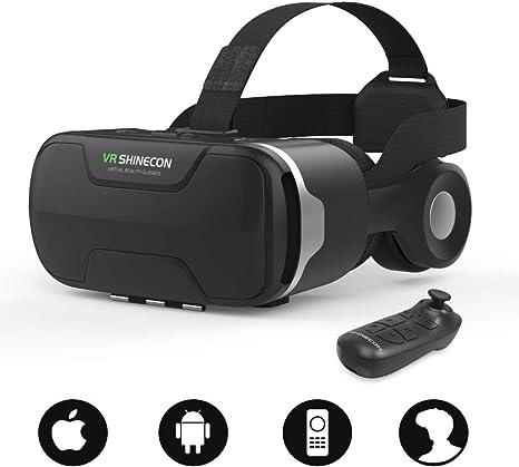 【最新改良版VRゴーグル】VRヘッドセットVRヘッドマウントディスプレイ3DスマホVRヘッドホン付きモバイル型瞳孔/焦点調節非球面光学レンズ4.7~6.5インチスマホ本体操作可眼鏡対応1080PHD高画質Bluetoothコントローラ付近視適用放熱性よい120°視野角着け心地よい4.7~6.5インチiPhone&androidなどのスマホ対応日本語説明書付