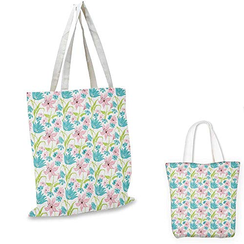 Floral canvas shoulder bag Botanical Artistic Soft Nature Daisies Lilies Blue Pink Blossoms canvas lunch bag Turquoise Pale Green Pale Pink. 12