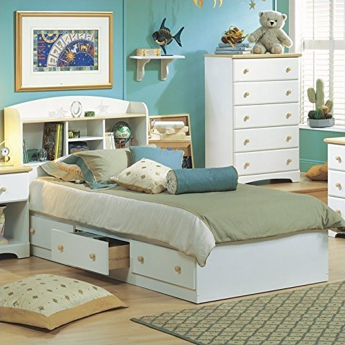 South Shore Furniture Summertime Collection Twin Mates Bed, Pure White and Natural (White Finish Twin Mates Bed)