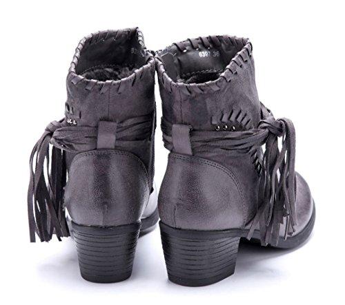Schuhtempel24 Damen Schuhe Klassische Stiefeletten Stiefel Boots Blockabsatz Nieten 5 cm Grau