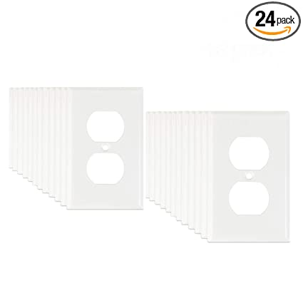 24 Pack Logest Duplex 1 Gang Bulk Contractor White Wall Plates