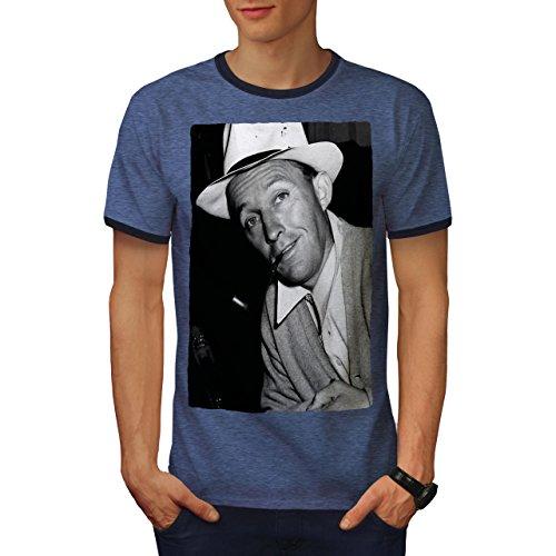 wellcoda Bing Crosby Celebrity Mens Ringer T-Shirt, Famous Graphic Print Tee Heather Blue/Navy S
