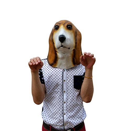 Dog Mask Latex, Realistic Cute Halloween Animal Costume Cosplay Headgear (Fox And The Hound Halloween Costumes)