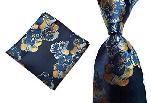Men Navy Blue Silk Tie Set Jacquard Woven Holiday Prom Designer Novelty Neckwear ()
