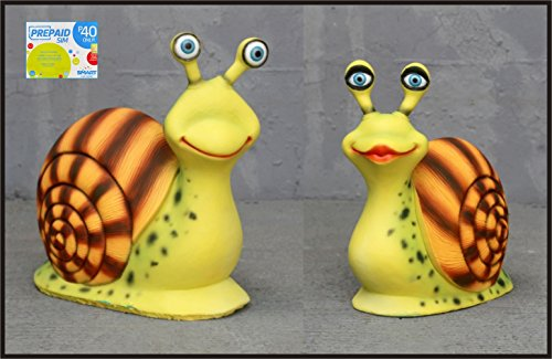 (Racing Snails 2pc Set Life-Like/size Garden Statue Prop and Smart Sim Card Combo Purchase)