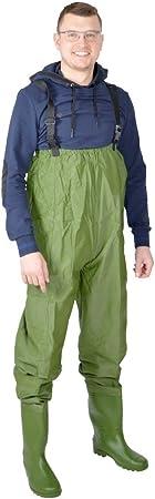 Wathose Wasserdicht Teichhose Gummistiefel PVC Hose Anglerhose Gr M-XXL