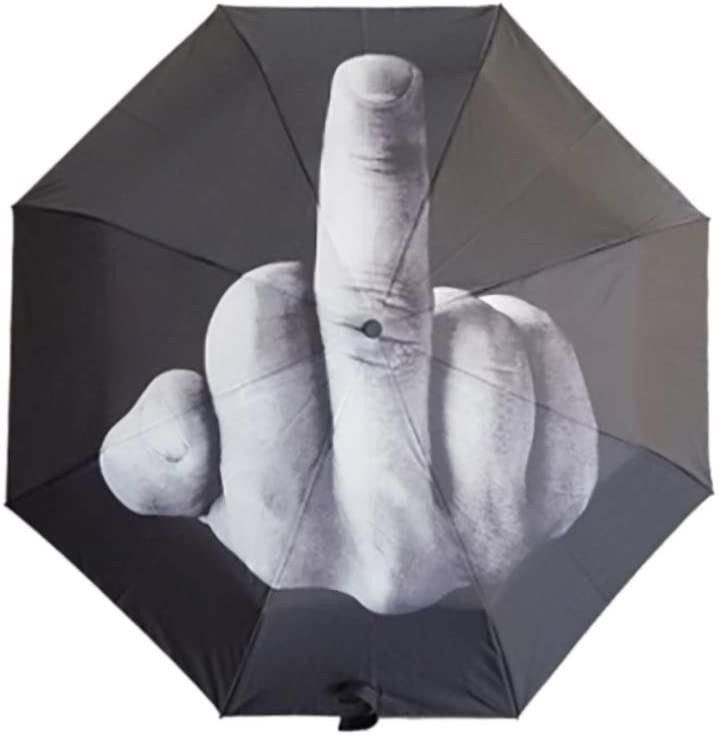 I-MART Creative Folding Middle Finger Up Yours Lightweight 8 Ribs Travel Umbrella Black