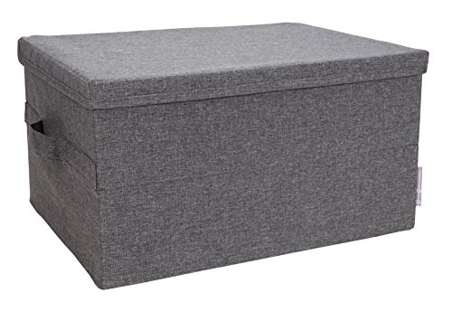 Bigso Soft Storage Box with Lid, Small, Grey (Small Lid Box)
