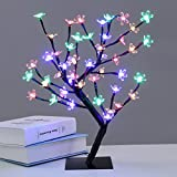 Excelvan Waterproof 0.45M 17.72Inch 48LEDs Cherry Blossom Desk Top Bonsai Tree Colorful Light Black Branches with Power adapter - Perfect for Festival Home Party Wedding Indoor Outdoor Decoration