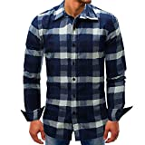 Men's Blouse ,Clearance Sale -Farjing Men Lattice Denim Long-Sleeve Beefy Button Basic Solid Blouse Tee Shirt Top(L,Dark Blue)