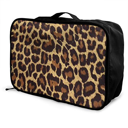 (Travel Fashion Lightweight Large Capacity Portable Waterproof Foldable Storage Carry Luggage Duffle Tote Bag - Panther Leopard Print)