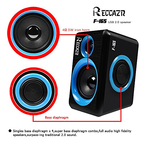 Computer Speakers With Surround Subwoofer Heavy Bass USB Wired Powered Multimedia Speaker for PC/Laptops/Smart Phone RECCAZR Built-in Four Loudspeaker Diaphragm(Blue)