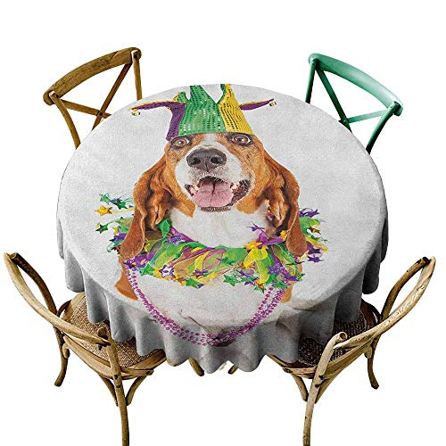 StarsART Wholesale tablecloths Mardi Gras,Happy Smiling Basset Hound Dog Wearing a Jester Hat Neck Garland Bead Necklace, Multicolor D54,for Bistro Table]()