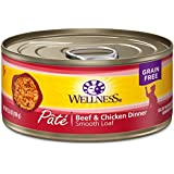 Wellness Natural Grain Free Wet Canned Cat Food, Beef & Chicken Pate, 5.5-Ounce Can (Pack of 24)