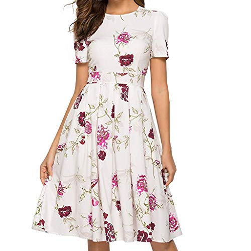 ba1f309611 Cenglings Women Elegant 3 4 Sleeve Floral Print A-line Vintage Printing  Party Vestidos